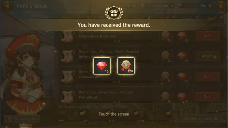Irene quest reward.