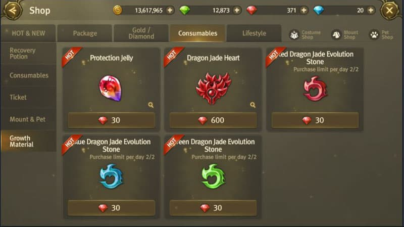 Shop items you can buy with red diamonds.