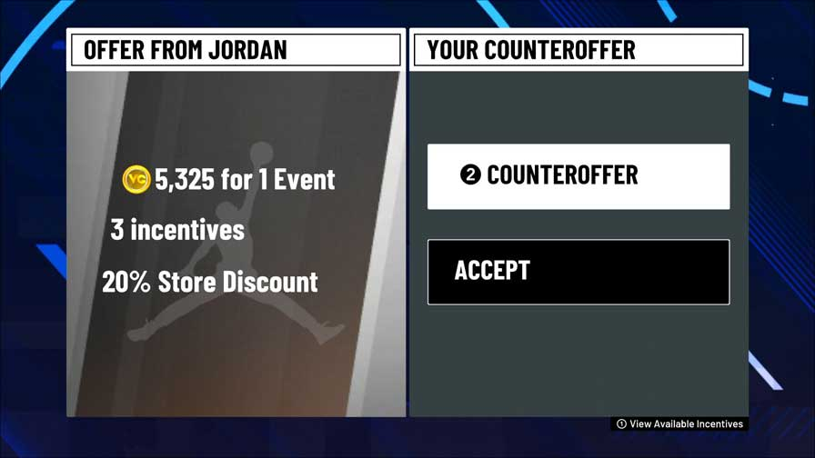NBA 2k21 Endorsement Contract VC Negotiation.