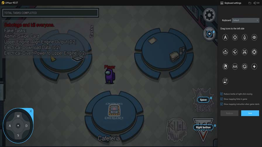 Game Controls Of Among Us On Ldplayer