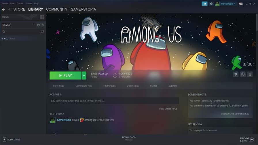 Launching Among Us Game On Steam